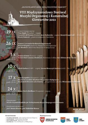 VIII Międzynarodowy Festiwal Muzyki Organowej i Kameralnej <<<19/09 - 24/10/2021>>>